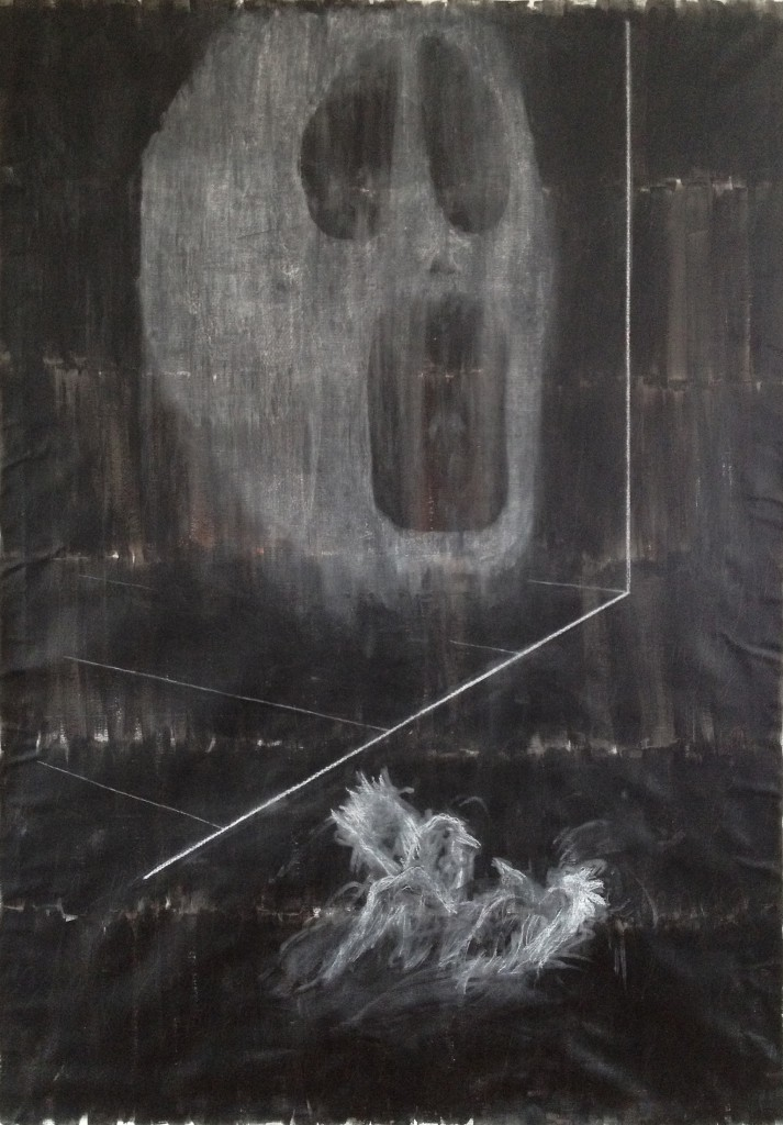 Untitled, 2012, acryl, pencil and chalk on canvas, 134 x 193 cm