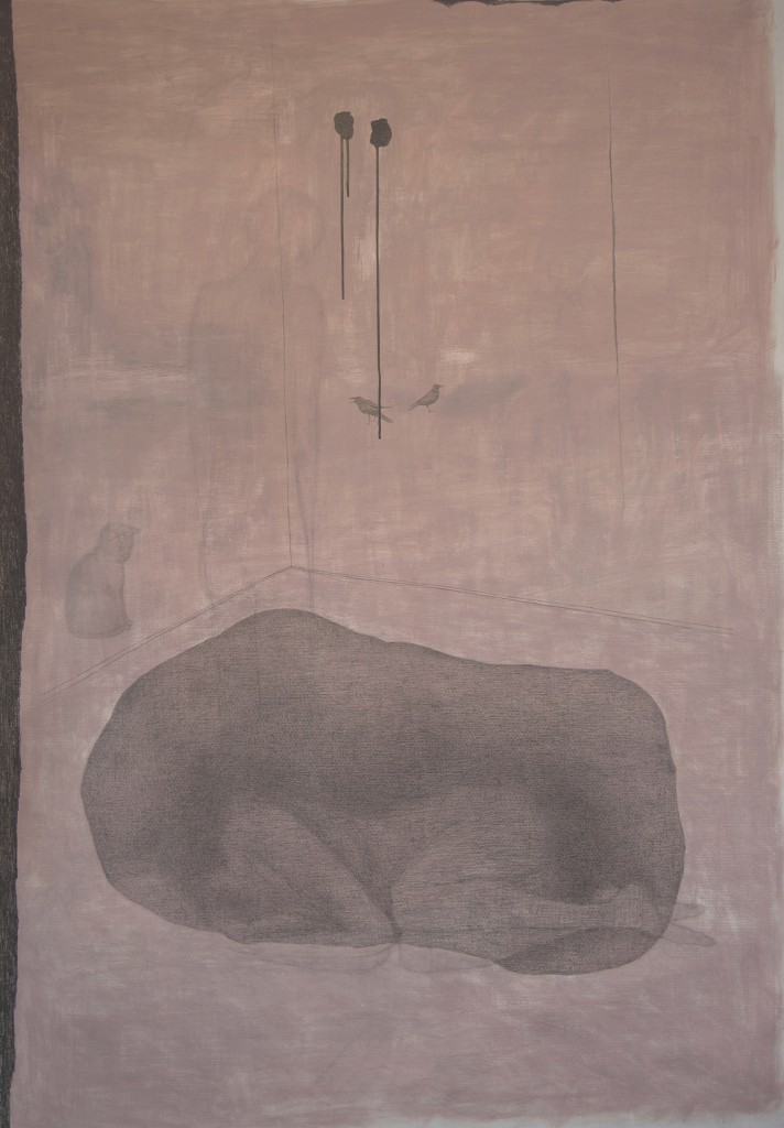 Untitled, 2012, acryl, pencil, ink and filt pen on canvas, 134 x 193 cm