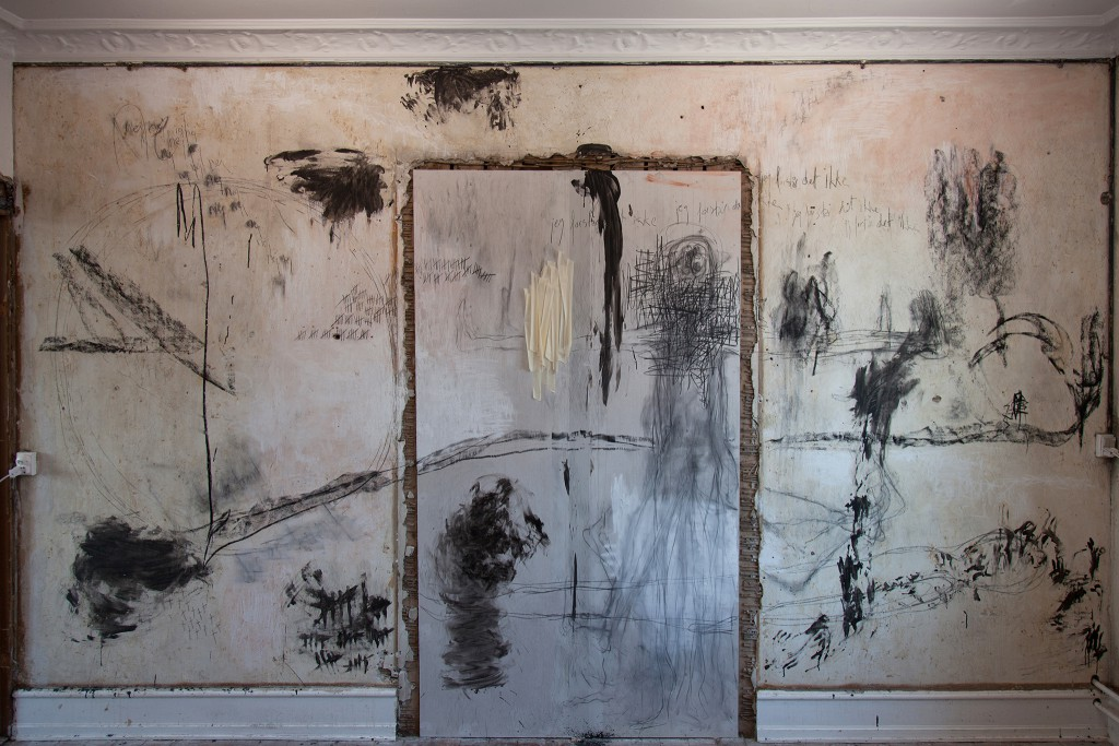 Untitled, painting on wall, 2013, chalk, coal, pencil, acryl, tape, 250 x 450 cm